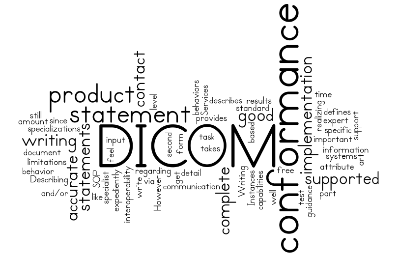 Word-cloud Dicom Conformance Statement in a week